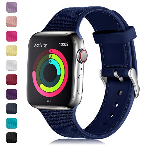Ltd Yellow Watch - GEAK Stylish Band Compatible with Apple Watch 40mm 38mm for Women Men,Soft Silicone Replacement Wristband with Stainless Steel Buckle for iWatch Series 1/2/3/4,38mm/40mm S/M Navy Blue