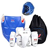 Wesing Professional Men Women WTF Approved Taekwondo Sparring Competition Gear Set With Bag