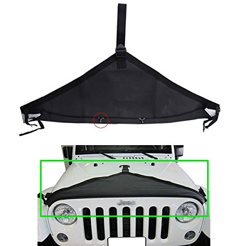 MOEBULB T-Style PVC Oxford Front Hood Protective Bra Cover Black for 2007-2016 Jeep Wrangler