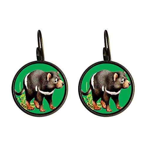 (GiftJewelryShop Bronze Retro Style Tasmanian Devil Photo Dangle Leverback Earrings 16mm diameter)