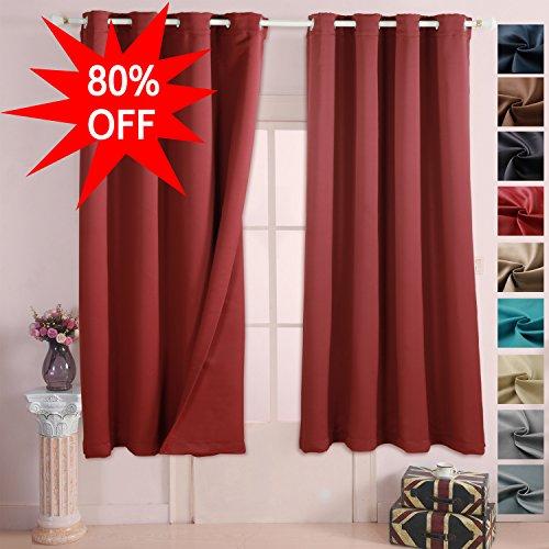 EMONIA Blackout Curtains for Bedroom & Living Room Darkening - (burgundy red, width x length:52