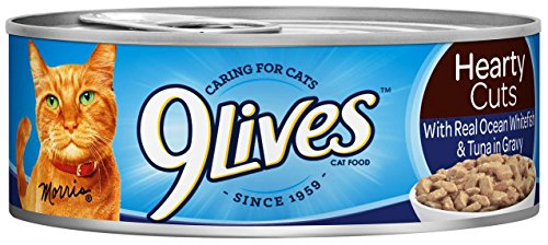 51dFg 406UL - 9Lives Hearty Cuts - Real Ocean Whitefish & Tuna in Gravy - 5.5 oz - 24 ct