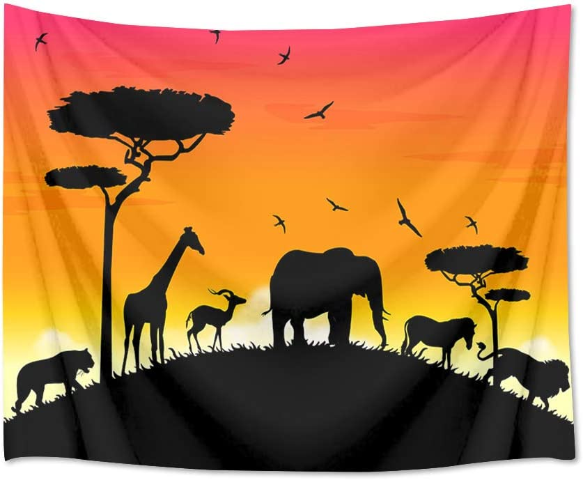 HVEST Animals in Sunset Tapestry Wall Hanging Lion Elephant Giraffe Birds Wall Tapestry Animals Backdrop Kids Tapestry Zoo Wall Hanging for Bedroom Living Room Dorm Decor 60Wx40H Inches