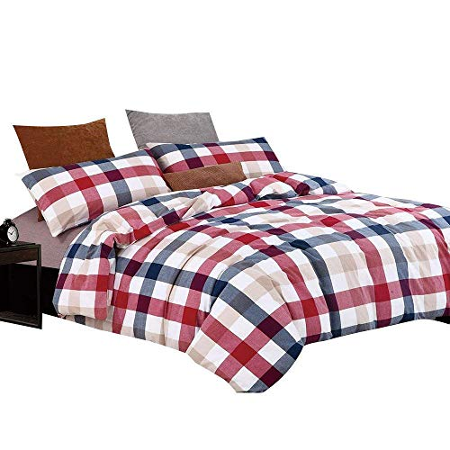 (OTOB Colorful Red Blue Plaid Checkered Bedding Set for Kids Adults 3 Piece Lightweight Washed Cotton Gingham Plaid Duvet Cover Sets with Pillow Shams Zipper Closure 4 Corner Ties, Twin, Red Blue)