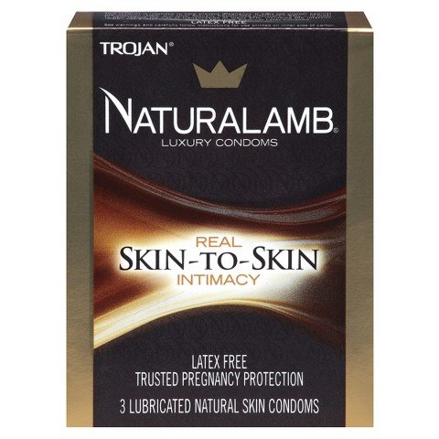Trojan NATURALAMB Premium Lubricated Natural Skin Condoms with Silver Pocket/Travel Case-3 Count (2 Pack)
