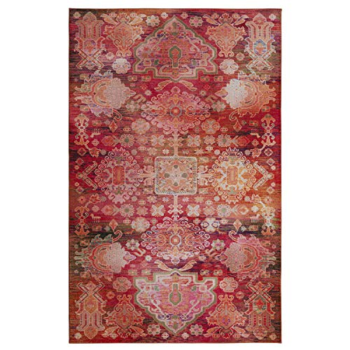 Mohawk Home Prismatic Holyoke Tropical Boho Precision Printed Area Rug, 8'x10', Red and Orange