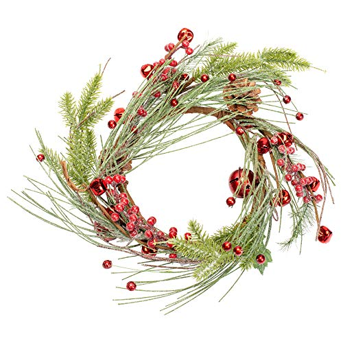 Small Red Jingle Bell and Holly Berry 12 inch Artificial Christmas Wreath