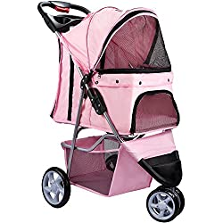 Paws & Pals Pet Stroller for Dogs & Cats (3 Wheel Elite Jogger) Easy Walk Folding Travel Carrier, Rose Wine