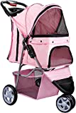 Image of OxGord 3 Wheeler Elite Jogger Pet Stroller Cat/Dog Easy Walk Folding Travel Carrier, Rose Wine