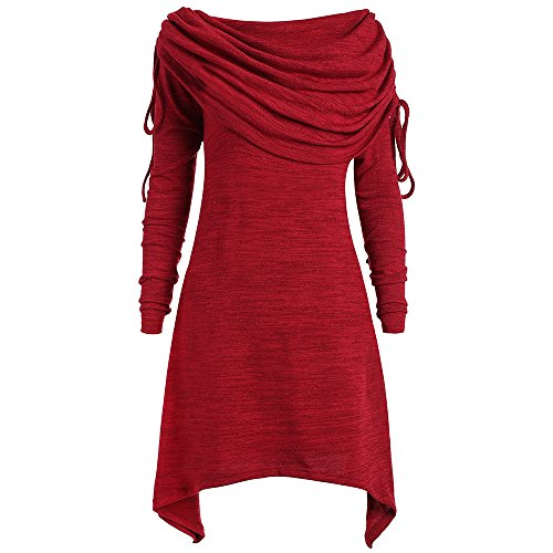 Tunic Asymetrical (DEZZAL Women's Plus Size Long Sleeve Fold-Over Collar Ruched Long Tunic Tops (Wine Red, 2XL))