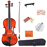ADM Starter Acoustic Violin 1/4 Size Handcrafted Solid Wood Student Kits, Red Brown
