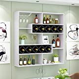 ALUS- Simple Home Restaurant Wall Wine Rack Living Room Wall Wine Cooler Hotel Bar Hanging Red Wine Rack Word Wine Grid ( Color : Black and white )