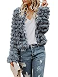 Inorin Womens Open Front Cardigan Faux Fur Coat Vintage Parka Shaggy Jacket Warm Coat Tops