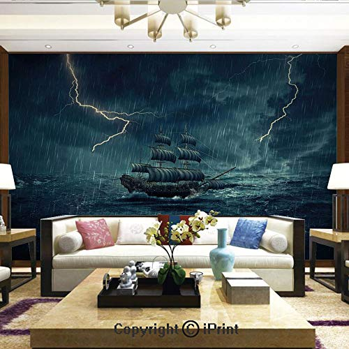Lionpapa_mural Removable Wall Mural   Self-Adhesive Large Wallpaper,Stormy Rainy Weather Waves Pirate Vintage Ship Sailing Oil Paint,Home Decor - 66x96 inches