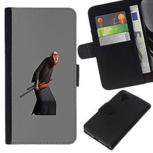 KLONGSHOP // Tirón de la caja Cartera de cuero con ranuras para tarjetas - Viejo Artes Marciales Espada - LG Nexus 5 D820 D821 //