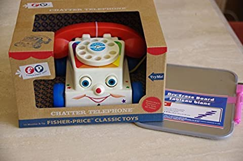 Fisher Price Classic Chatter Phone with Dry Erase Board for Drawing Pictures or Taking Messages - Fisher Price Chatter Telephone