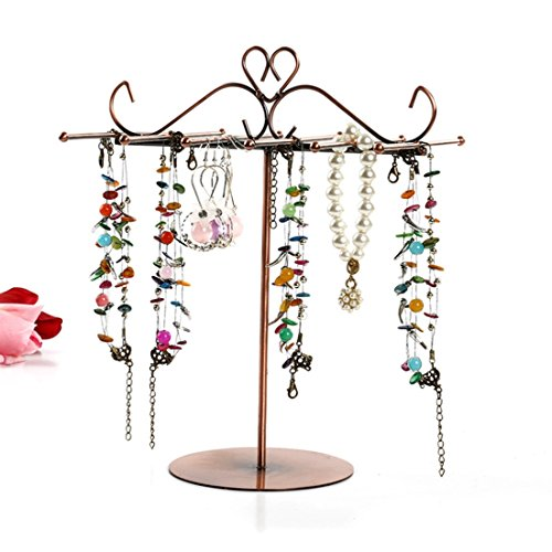 (Sugoishop Gold Metal Arch Design Jewelry Holder 12 Necklace Hooks Necklace Earring Organizer Stand 2 Sizes (Color : Gold, Size : S) )