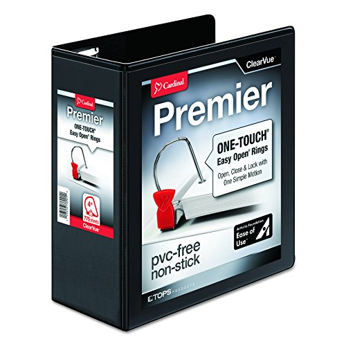 Cardinal Premier Easy Open ClearVue Locking Slant-D Ring Binder, 4-Inch, Black (10341) (4 Inch Easy Open D-ring)