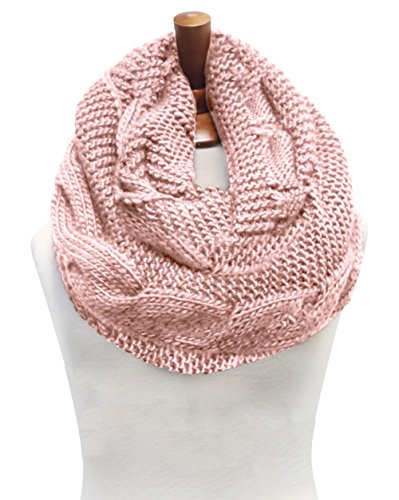 Basico Women Winter Chunky Wide Knitted Infinity Scarf Warm Circle Loop Various Colors (Twist 1pk- Baby Pink) (Pink Knitted Scarf)