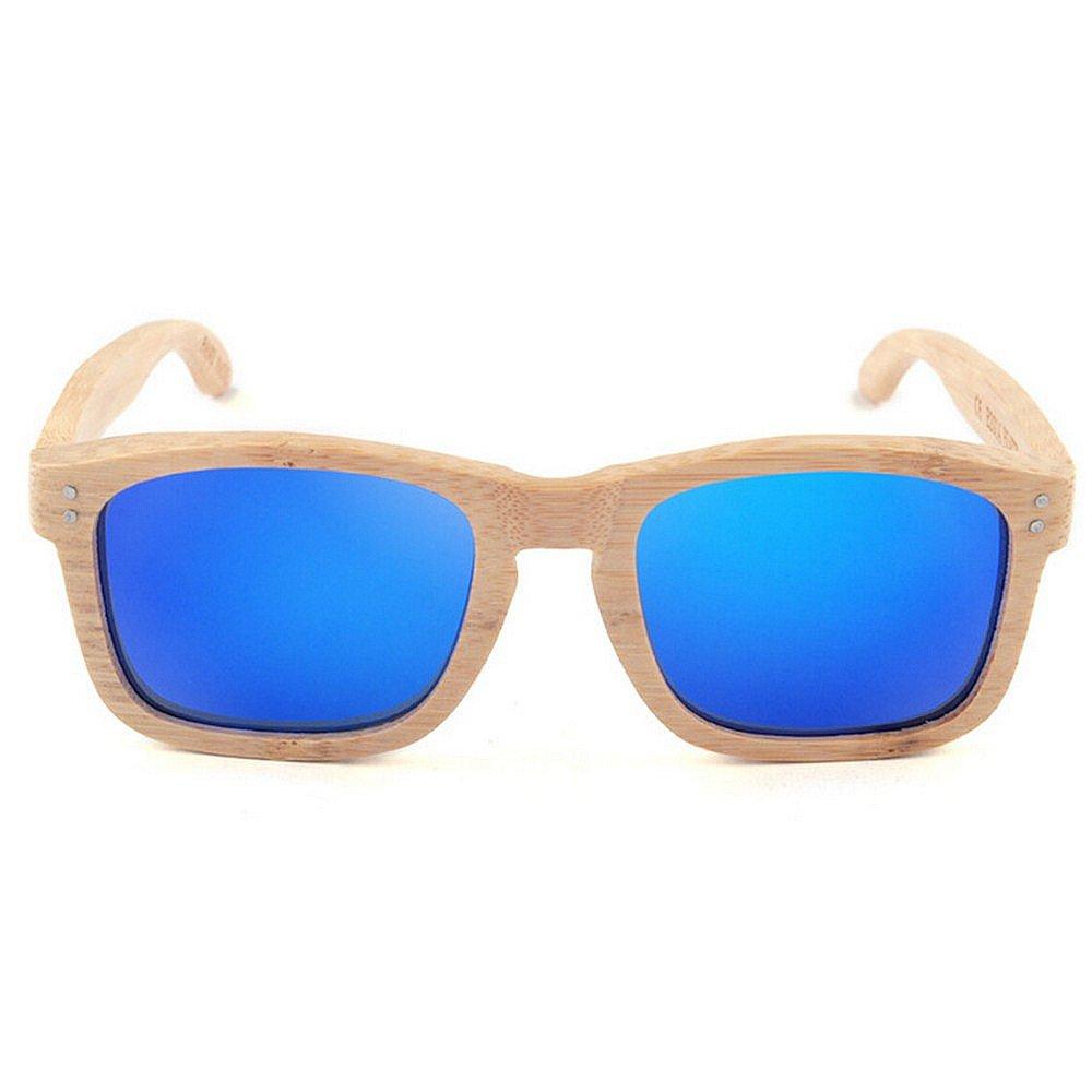 Dig dog bone Mens Sunglasses Personality Handmade Bamboo Sunglasses Blue Color Polarized TAC Lens UV Protection Driving Vacation Fishing Beach Outdoor Sunglasses