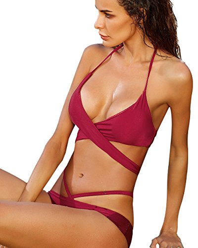 MOOSKINI Women Push-Up Bikinis Solid Color Padded Swimsiut Small Size