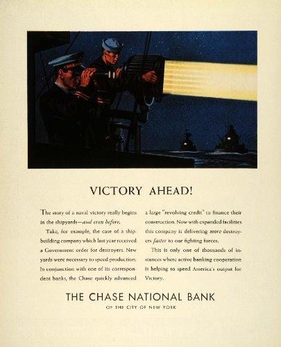 1942 Ad Chase National Bank New York World War II Navy Sailors Lookout Spotlight - Original Print Ad (Bank Sailor)