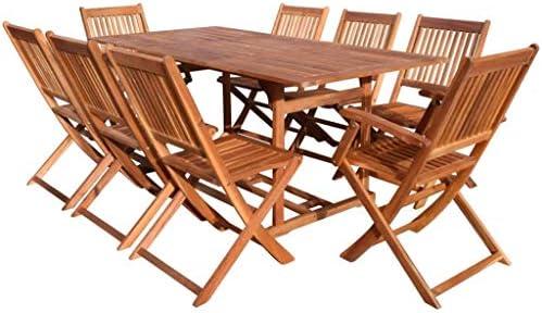 Fesjoy Juego de Muebles de Madera para jardín Conjunto de sillas de Mesa, sillas Plegables de 8 Asientos para el Patio con Mesa Ideal para Sala de Estar y Comedor al Aire