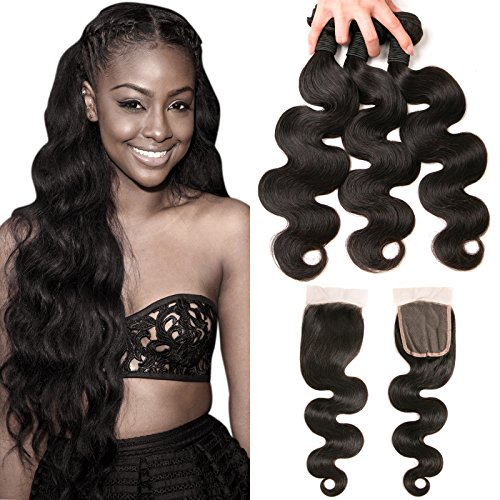 Buy cheap daimer body wave brazilian hair bundles with free part 4x4 closure baby natural color 2216