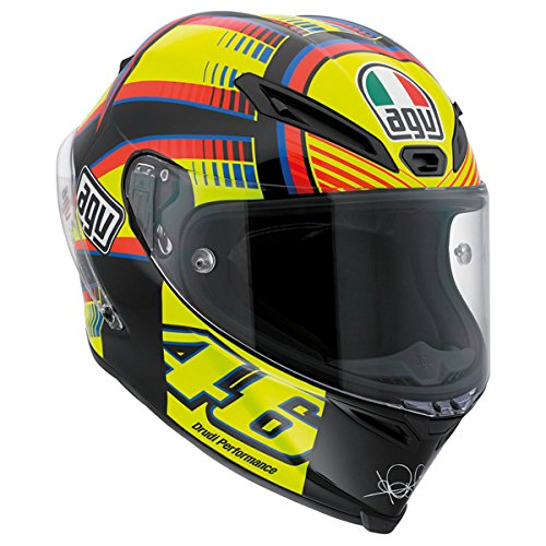 AGV Corsa Adult Sole Luna Rossi Street Motorcycle Helmet - Yellow/Black/Blue / 2X-Large