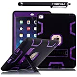 iPad Air 2 Case, TabPow [Triple Layer][Shockproof][Kickstand][Heavy Duty] Hybrid Rugged Drop Proof Defender Case Cover with Stand For Apple iPad Air 2 with Retina Display / iPad 6th Generation [FREE SCREEN PROTECTOR + STYLUS BUNDLE], Purple