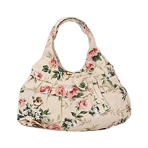 canvas TOOGOO printing handbag£¨Khaki Women Flower£© R TOOGOO Women R Bow canvas Bow 0w0Tr4q