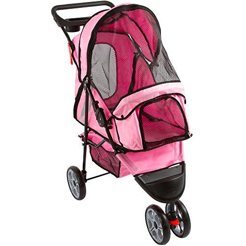 3 Wheel Pink Pet Stroller - 8