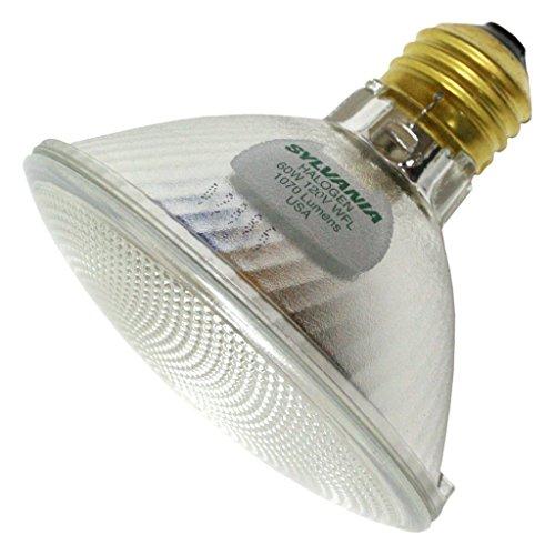 - Sylvania Item 16129, Tungsten Halogen PAR30 Silver Reflector Lamp 60Watt 120Volt Medium Base WideFlood50 Beam