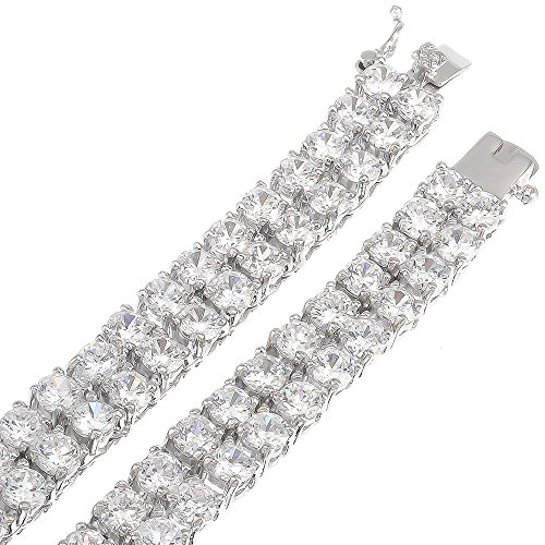 30 Inch Mens 2-Row Rhodium Plated Iced Out Hip Hop Chain with White Cubic Zirconia CZs + Bonus Polishing Cloth by The Bling Factory