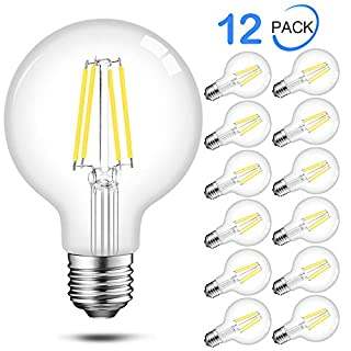 Edison G25 Globe LED Bulbs 60 Watt Equivalent, 5000K Daylight, 500 Lumens, E26 Base, Dimmable Filament LED Vanity Light Bulbs, UL Listed, 12 Pack