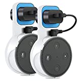 Outlet Wall Mount Hanger Holder Stand for Echo Dot 2nd Generation (Short Cable Included) Plug in Kitchens, Bathroom and Bedroom Black and White 2 Packs