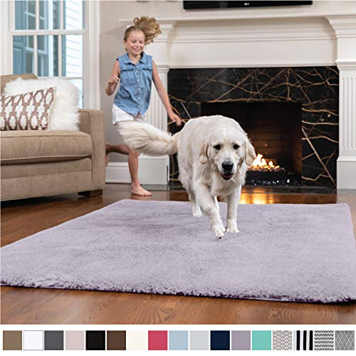 GORILLA GRIP Original Faux-Chinchilla Nursery Area Rug, (4' x 6') Super Soft & Cozy High Pile Machine Washable Carpet, Modern Rugs for Floor, Luxury Shag Carpets for Home Bed/Living Room (Purple) ()