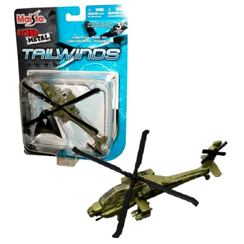 - Maisto Fresh Metal Tailwinds 1:112 Scale Die Cast United States Military Aircraft : U.S. Army Principal Attack Helicopter AH-64A Apache with 30 mm M230 Chain Gun, AGM-114 Hellfire and Hydra 70 Rocket Pods Plus Display Stand