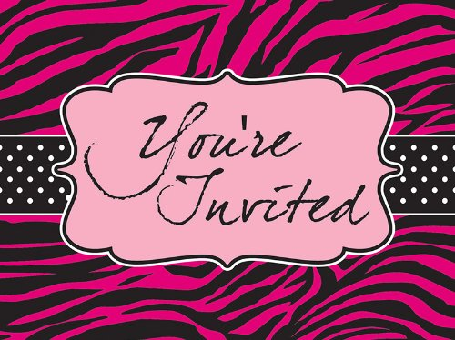 Creative Converting Pink Zebra Boutique Postcard Style Party Invitations, 8 (Katy Perry Halloween Ideas)