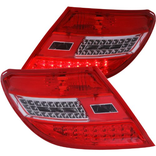 AnzoUSA 321202 Red/Clear LED Taillight for Mercedes Benz C Class W204 - (Sold in Pairs)