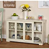 Sliding Tempered Glass Doors Stackable Storage Cabinet, Multiple Colors, Stackable Cabinet Option, One Adjustable Shelf, Sliding Doors, Finish: Antique White, Espresso