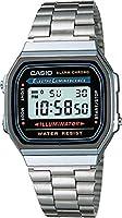 Casio A168WA-1Q Reloj Unisex Cuadrado, Digital, color Gris y Plata