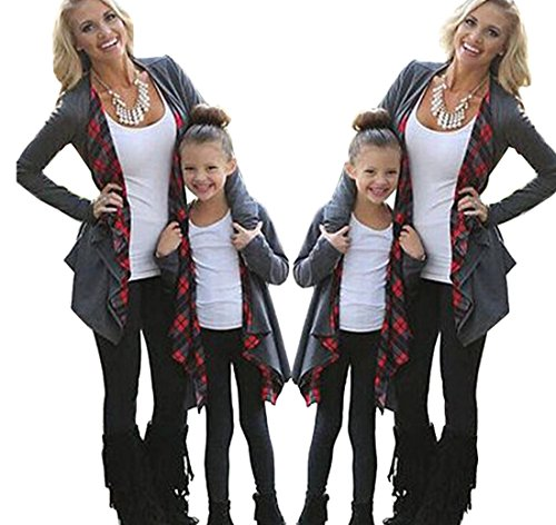 Mommy and Me Cardigan with Plaid Long Sleeve Open Front Sweater