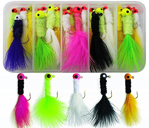 - JSHANMEI 20pcs/Box Crappie Jigs Assorted Colors Lead Head Hook with Marabou Chenille for Bass Pike Walleye Fishing Jig with Feather, Fishing Hard Lure Accessory Ice Fishing Jigs