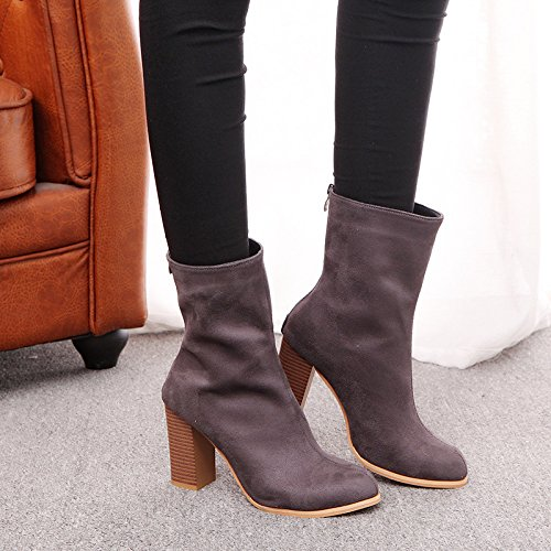 KHSKX-High Heel Short Boots Ankle Boots And Rear Zipper Thirty-eight upOVd