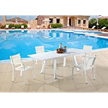 Milan Melbourne Matte White Outdoor Aluminum Extendable Dining Set with Low Back Chairs