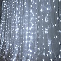 Efavormart BIG Wedding Party Photography Organza Curtain Backdrop with lights - White - 20FT x 10FT