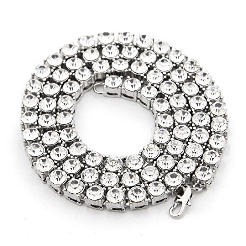 5 Mm Silver Rhinestone - Fashion Necklaces Jewelry Hip Hop Chain 1 Series 5mm Rounded Tennis Necklace (Silver, 20inch)