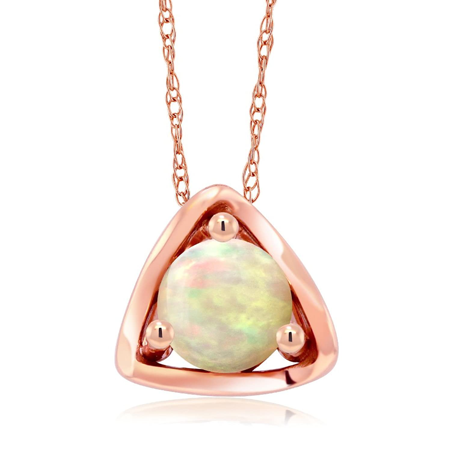 10K Rose Gold 0.50 Ct Round Cabochon White Ethiopian Opal Pendant Necklace with 18 Inch Chain