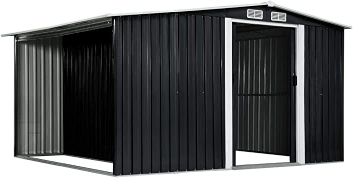 Lechnical Caseta de jardín con puertas corredizas metálicas Cobertizo para herramientas con techo pent Cobertizo para herramientas de jardín Armario de herramientas antracita 329,5×259×178 cm de acero: Amazon.es: Hogar